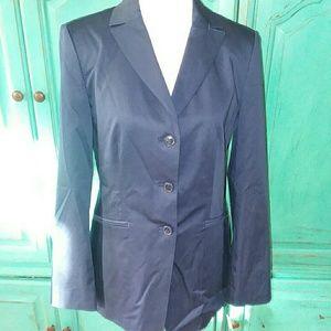 Talbots navy blazer with slimming silhouette